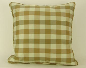 "18"" x 18"" Pillow Cover Plaid Seafoam Green Bronze Welted"