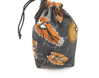 Orange Nightmare Before Christmas, Dice Bag, Draw String Bag, Free Standing, Revisable, Gamer Bag, D&D Dice Bag, Makeup Bag, Small Gift Bag