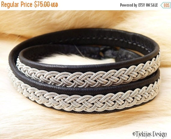 """Sami Viking Double Wrap Bracelet ASGARD size 20 cm / 7.9"""" - 20% off OUTLET ready to ship - Black Reindeer Leather with Pewter Braid"""