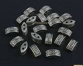 100Pcs Antique Silver Double Holes Bead Necklace Bead Spacer For Jewerly 10x4mm (PND1477)