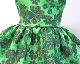 Shamrocks on Green, St. Patrick's Day Sleeveless Dress for Your American Girl Doll