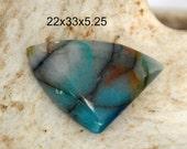 Chrysocolla in quartz cabochon.  22 x 33 x 5.25  designer cut