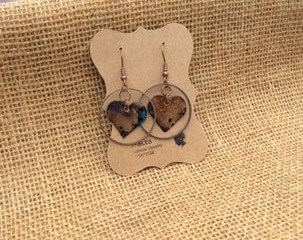 Verdigris Heart Earrings, Patina Heart Earrings