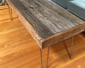 Rustic and Modern Coffee Table made of Reclaimed Barn Wood - Hairpin Legs - Shabby Chic- Upcycled - Salvaged