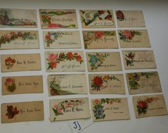 J 20 antique Victorian calling cards roses flowers names damaged lot old scrap paper supplies vintage ephemera mixed media art scrapbook