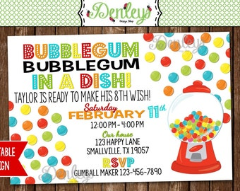 Gumball Machine Party Invitation (GU04)