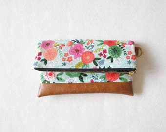 Mint floral clutch with brown faux leather