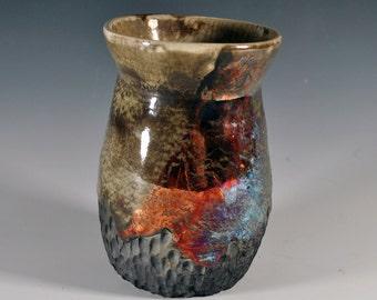 Raku Pottery Vase, Handmade Vase