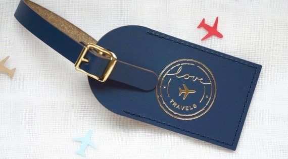 Wedding Favors NEW Love Travels Foil Pressed Leather Luggage