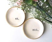 ring dish, wedding ring holder, Mr and Mrs Gift Set, husband, wife,  Black, White, Gold,  IN STOCK