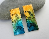 """Ink Painted Aluminum Rectangles,  1"""" Long x 10mm, Hand Painted Earring Charms, One of a Kind, Ready To Ship"""