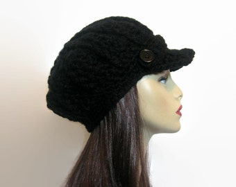 Black Newsboy Hat Crochet Newsboy Hat Black Hat with Visor Adult Newsboy Black Cap Crochet News boy Black Hat with Visor Black knit Hat