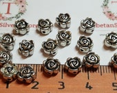 36 pcs per pack 7mm Reversible Rose Beads with 1.5mm Hole in Antique Silver Lead Free Pewter