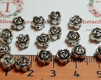 36 pcs per pack 7mm Reversible Rose Beads with 1.5mm Hole Antique Silver Lead Free Pewter