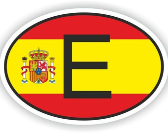 Spain Country Code Oval Sticker with Flag for Bumper Laptop Book Fridge Motorcycle Helmet ToolBox Door PC Hard Hat Tool Box Locker Truck