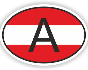 Austria A Country Code Oval Sticker with Flag for Bumper Laptop Book Fridge Motorcycle Helmet ToolBox Door Hard Hat Tool Box Locker PC