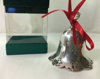 Vintage Towle 1995 Silverplate Annual Christmas Bell. Candle Pierced Pattern.  In Box, Fine Condition. Sticker Hallmark.