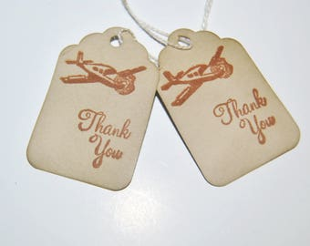 Airplane thank you favor tags. hand stamped. vintage inspired.