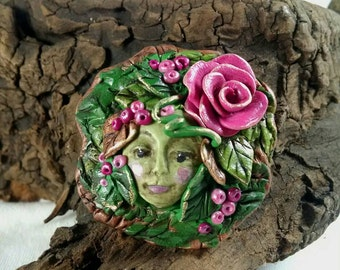 Fairy Brooch, Fairy Jewelry, Mothers Day, Polymer Clay, Pink Rose, Fairy in Leaves, Pinks and Greens