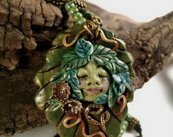 Fairy Necklace, Woodland Fairy, Fairy Pendant, Statement Necklace, Fairy in Woods, Fantasy Jewelry