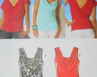 Easy McCalls 2010 UNCUT For Stretch Knits Only Misses Tops Sleeveless/Short Sleeves Pattern Number 6078 Sizes Xsm - Sm - Md