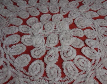 """RED with WHITE CURLIQUES Vintage Chenille Bedspread Fabric - White Curliques on Bright Red Chenille Fabric - 36"""" X 36"""""""