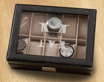 Monogrammed Men's Watch Box - Personalized with a Single Initial, Engraved Groomsmen Gift, Birthday Gift for Him, Wedding Gift, Father's Day