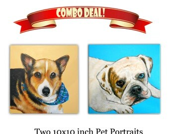 Two 10x10x0.75 inch Custom Dog Portraits Acrylic / Custom Pet Portraits - 1 to 2 Pets Close-Up Solid background Gift Memorial Nursery Puppy