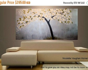 SALE ORIGINAL XLarge  4ft x 2ft  gallery wrap canvas     abstract  landscape trees painting by Nicolette Vaughan Horner