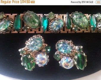 Now On Sale Vintage Chunky Rhinestone Bracelet Earring Set Headlight Huge Stones 1950's Collectible Jewelry High End Quality