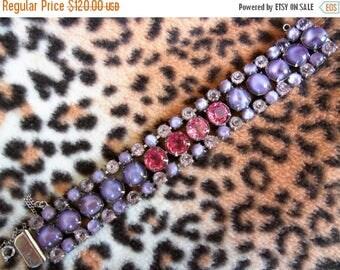 Now On Sale Purple Pink Rhinestone Bracelet 1950's Collectible Jewelry Chunky Wide Retro Rockabilly Mad Men Mod Hollywood Regency