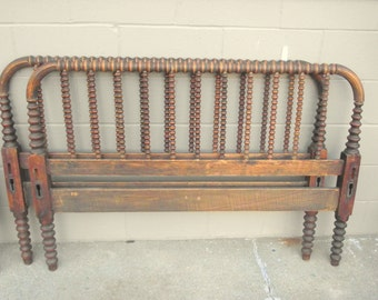 Antique Jenny Lind BED Full Size Spindle Spool Bed Solid Wood Farmhouse Chic Headboard and Footboard - Country Cottage Heirloom - Primitive