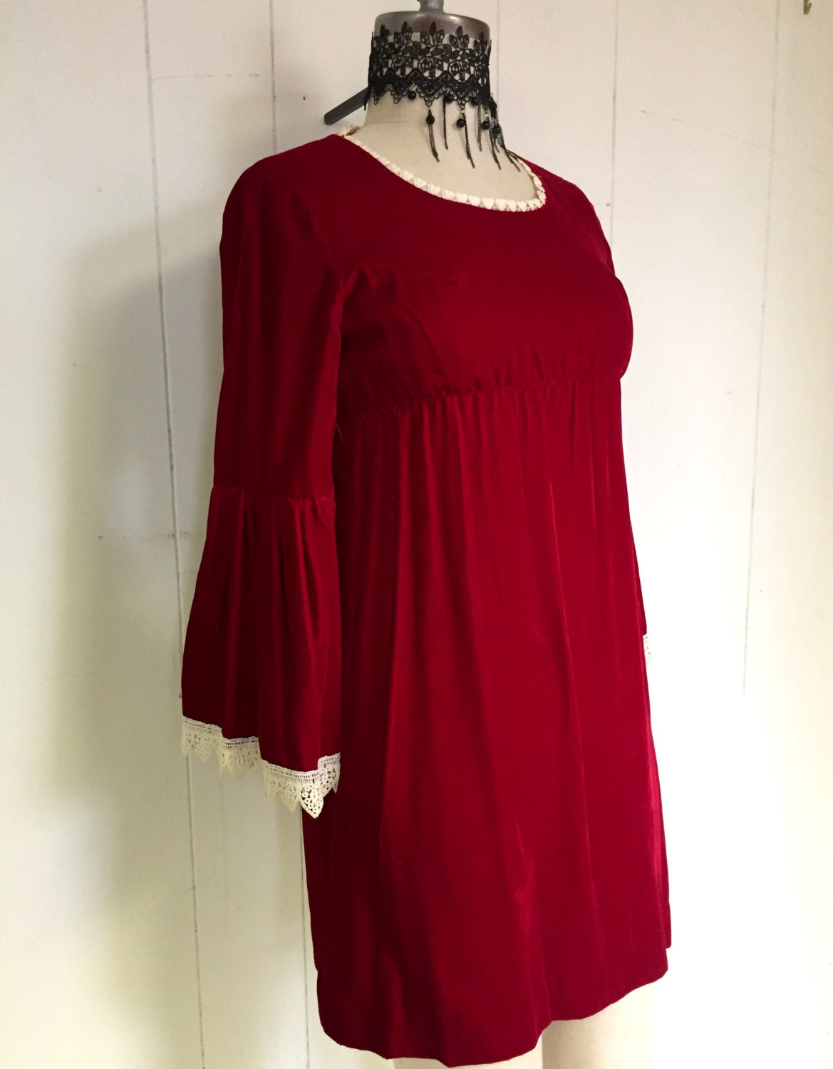 Red VELVET Bell Sleeved Empire Waist Mini Holiday Party  Holiday Dress