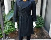 Reserved Vintage 1980/90's Burberrys' Black Trench Coat - Size 40/42