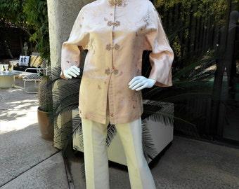 Vintage 1950's I. Magnin Soft Pink Brocade Asian Style Jacket - Size