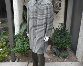 Vintage 1960's The London Shop Grey Houndstooth Wool Topcoat - Size XL