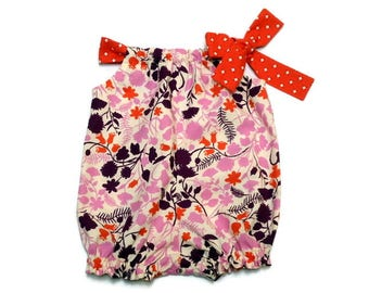 Baby Bubble Romper Baby Pillowcase Romper Baby Sunsuit Purple and Coral Floral