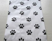 "10 Flat PAW PRINT White  Merchandise Bags (6-1/4"" x 8-3/4"")"