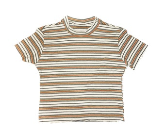 70s Inspired  Multi Stripe Crop Top Rib Knit Made to Order Deadstock Fabric