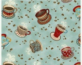 15% off thru 2/22 COFFEE HOUSE Henry Glass  quilters cotton fabric by the half yard tossed coffee cups & beans on aqua 9954-16
