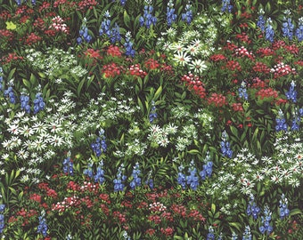 Texas Wildflowers VII Moda fabric by the half yard quilt weight cotton  32971-15 field of wild flowers bluebonnets Fall