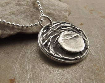 Full Moon and Trees Fine Silver Necklace Handmade Jewelry for Women
