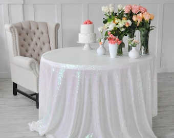 "Iridescent Pearl Colored Sequin Tablecloth Table Cover for rectangle or round tables - 90"" x 132"""