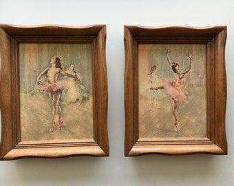 Vintage ballerina picture wall hanging frame set of 2