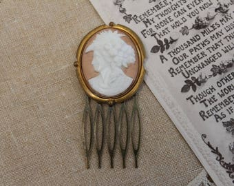 Vintage - Antique - Brass Cameo Bridal Hair Comb - Headpiece - Bridesmaid