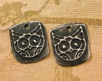 Owl Charms - Artisan Hand Made Pewter Jewelry Components