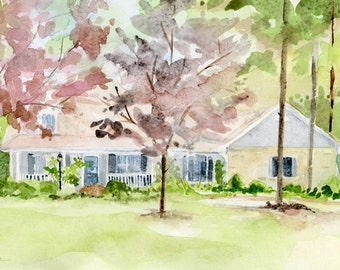 House Watercolor Painting Inspired by Digital Photos Ready to Frame