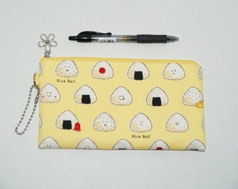 """Padded Zipper Pouch / Pencil Case / Cosmetic Bag Made with Japanese Cotton Oxford Fabric """"Onigiri - Rice Ball"""" Yellow"""