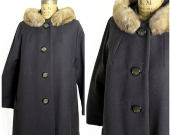 1960s Brown Wool Swing Coat with Fur Collar