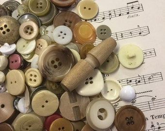Collection of Mixed Toned French Buttons, Over 50 Assorted Buttons, Buttons for Craft  (4)